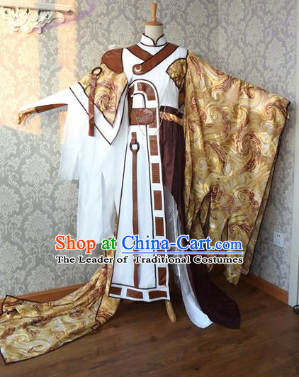 Top Grade Traditional China Ancient Cosplay Swordsman Costumes, China Ancient Taoist Master Hanfu Clothing for Men