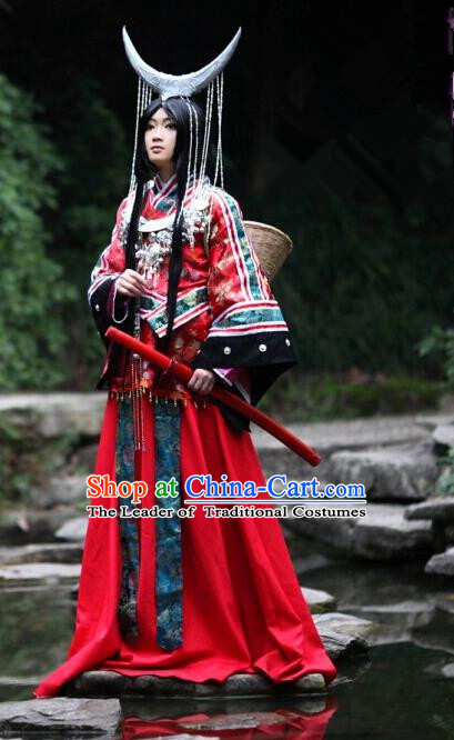 Top Grade Traditional China Ancient Cosplay Miao National Minority Wedding Costumes, China Ancient Hmong Bride Red Clothing for Women