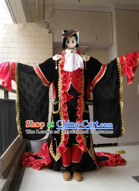 Top Grade Traditional China Ancient Cosplay Onmyoji Swordsman Costumes, China Ancient Taoist Master Hanfu Clothing for Men