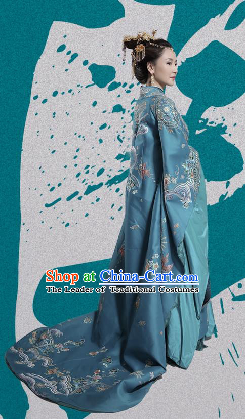 Traditional Ancient Chinese Northern and Southern Dynasties Imperial Consort Costume, Princess Agents Northern Wei Dynasty Imperial Concubine Embroidered Clothing and Headpiece Complete Set