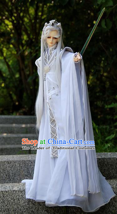Top Grade Traditional China Ancient Cosplay Swordsman Costumes Complete Set, China Ancient Knight-Errant Hanfu Robe Clothing for Men for Kids