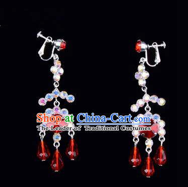 Chinese Ancient Peking Opera Head Accessories Young Lady Diva Colorful Crystal Red Earrings, Traditional Chinese Beijing Opera Hua Tan Eardrop Ear Pendants