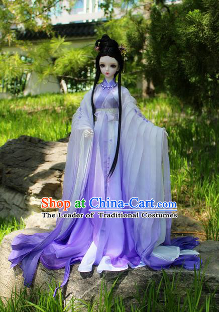 Top Grade Traditional China Ancient Female Fairy Costumes Complete Set, China Ancient Cosplay Tang Dynasty Princess Purple Dress Hanfu Clothing for Adults and Kids