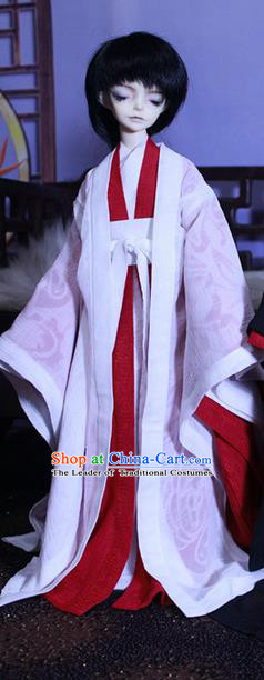 Top Grade Traditional China Ancient Cosplay Chivalrous Expert Costumes Complete Set, China Ancient Knight-Errant White Hanfu Robe Clothing for Men for Kids