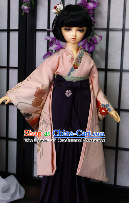 Top Grade Traditional Japan Kimono Costumes Complete Set, Ancient Japanese Kimono Cosplay Pink Clothing for Adults and Kids