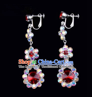 Chinese Ancient Peking Opera Head Accessories Young Lady Diva Colorful Crystal Red Water Drop Earrings, Traditional Chinese Beijing Opera Hua Tan Eardrop Ear Pendants