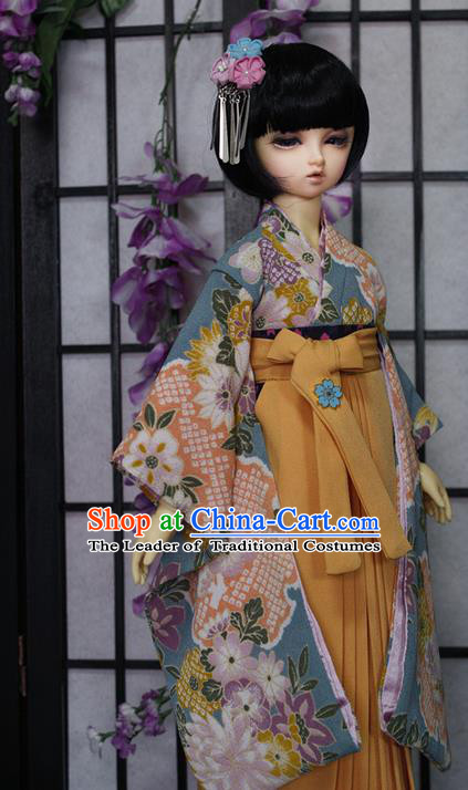 Top Grade Traditional Japan Kimono Costumes Complete Set, Ancient Japanese Kimono Cosplay Blue Clothing for Adults and Kids