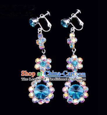 Chinese Ancient Peking Opera Head Accessories Young Lady Diva Colorful Crystal Blue Water Drop Earrings, Traditional Chinese Beijing Opera Hua Tan Eardrop Ear Pendants