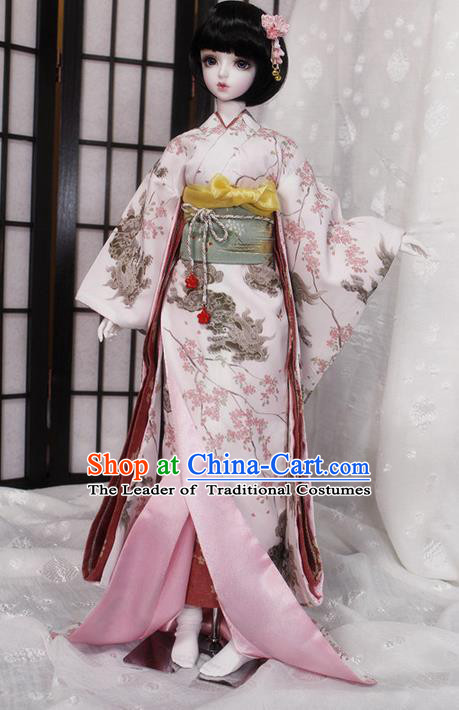 Top Grade Traditional Japan Cherry Blossom Kimono Costumes Complete Set, Ancient Japanese Kimono Cosplay Geisha Pink Clothing for Adults and Kids