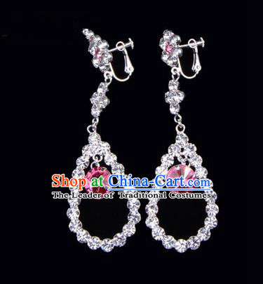 Chinese Ancient Peking Opera Head Accessories Young Lady Diva Colorful Crystal Pink Water Drop Earrings, Traditional Chinese Beijing Opera Hua Tan Ear Pendants
