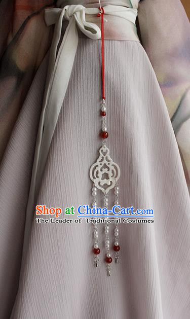 Top Grade Traditional China Ancient Palace Jade Pendant, China Ancient Swordsman Tassel Waist Pendant