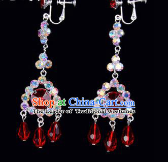 Chinese Ancient Peking Opera Head Accessories Young Lady Diva Colorful Crystal Red Tassel Earrings, Traditional Chinese Beijing Opera Hua Tan Ear Pendants