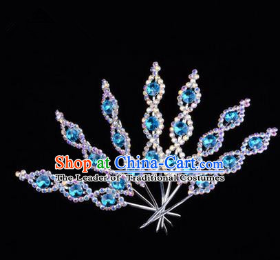 Chinese Ancient Peking Opera Head Accessories Young Lady Diva Crystal Headwear Blue Hairpins, Traditional Chinese Beijing Opera Hua Tan Head-ornaments