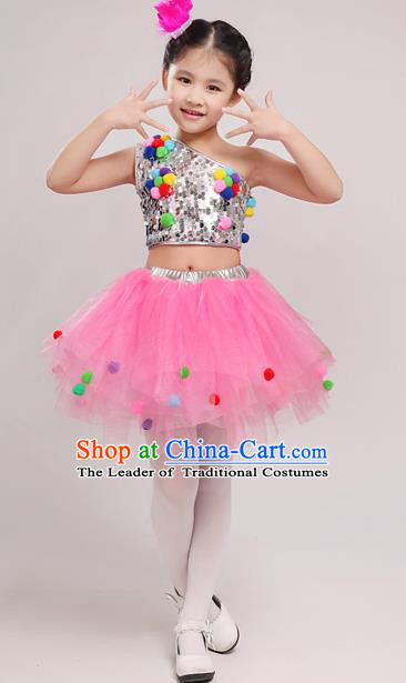 Top Grade Chinese Professional Performance Costume, Children Bubble Full Dress Modern Dance Dress for Girls Kids