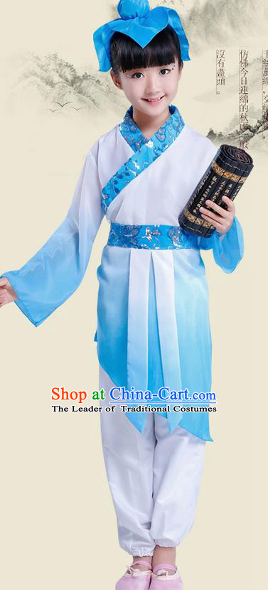 Top Grade Chinese Ancient Scholar Costume and Headwear Complete Set, Children Disciple Gauge Performance Blue Clothing for Kids