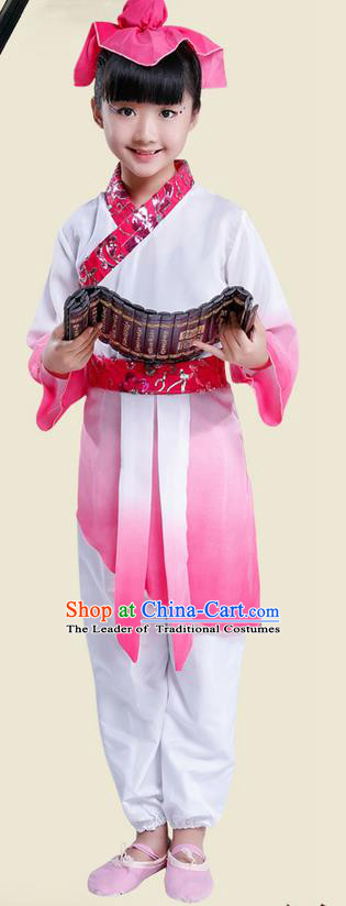 Top Grade Chinese Ancient Scholar Costume and Headwear Complete Set, Children Disciple Gauge Performance Pink Clothing for Kids