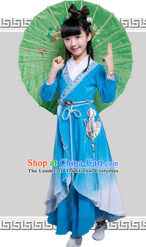 Top Grade Chinese Ancient Princess Costume, Children Peri Elegant Hanfu Dress Blue Clothing for Kids