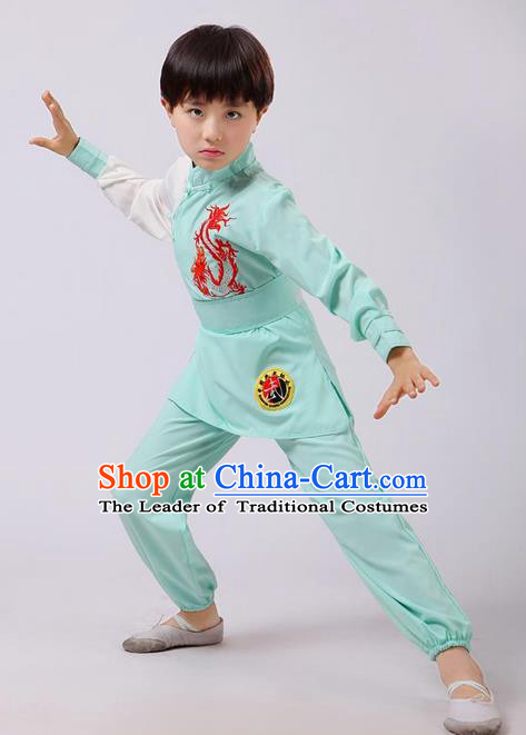 Top Grade Chinese Ancient Martial Arts Costume, Children Taiji Kung fu Green Clothing for Kids