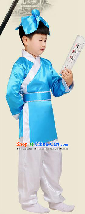Top Grade Chinese Ancient Scholar Costume and Headwear Complete Set, Children Three Character Classic Performance Blue Clothing for Kids