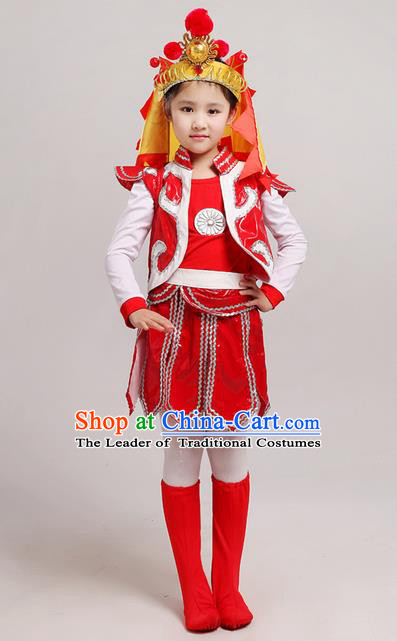 Top Grade Chinese Peking Opera Blues Soldier Costume, Children Beijing Opera General Clothing for Kids