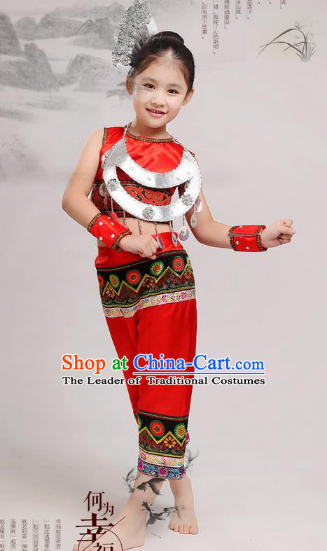 Top Grade Chinese Miao Nationality Little Girls Costume, Children Hmong Dance Red Clothing for Kids