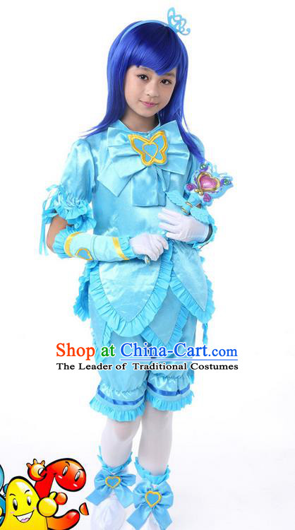 Top Grade Chinese Professional Halloween Performance Little Fairy Costume Complete Set, Children Cosplay Princess Blue Bubble Dress for Kids