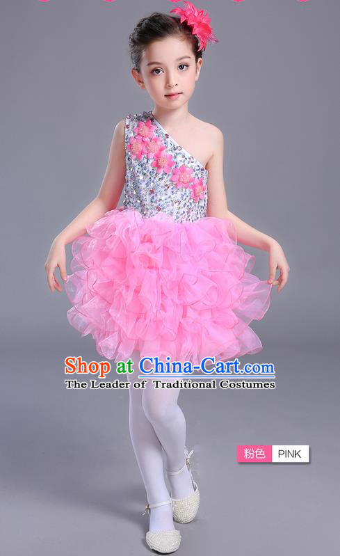 Top Grade Chinese Professional Performance Jazz Dance Costume, Children Modern Dance One-shoulder Pink Bubble Dress for Kids