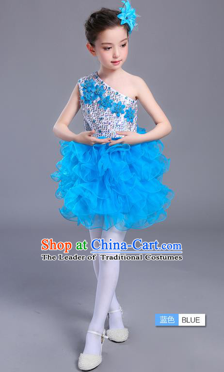 Top Grade Chinese Professional Performance Jazz Dance Costume, Children Modern Dance One-shoulder Blue Bubble Dress for Kids