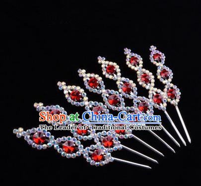 Chinese Ancient Peking Opera Head Accessories Young Lady Diva Crystal Headwear Red Hairpins, Traditional Chinese Beijing Opera Hua Tan Head-ornaments