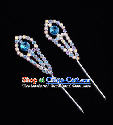 Chinese Ancient Peking Opera Head Accessories Young Lady Diva Colorful Crystal Headwear Blue Hairpins, Traditional Chinese Beijing Opera Hua Tan Head-ornaments