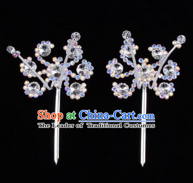 Chinese Ancient Peking Opera Head Accessories Young Lady Diva Colorful Crystal Headwear Sunflower White Hairpins, Traditional Chinese Beijing Opera Hua Tan Head-ornaments