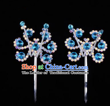 Chinese Ancient Peking Opera Head Accessories Young Lady Diva Colorful Crystal Headwear Sunflower Blue Hairpins, Traditional Chinese Beijing Opera Hua Tan Head-ornaments