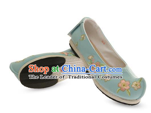 Chinese Ancient Peking Opera Young Lady Shoes, Traditional Chinese Beijing Opera Ancient Princess Hanfu Cloth Blue Shoes for Women