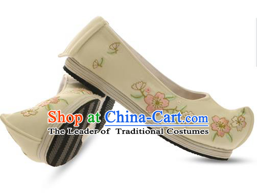 Chinese Ancient Peking Opera Young Lady Shoes, Traditional Chinese Beijing Opera Ancient Princess Hanfu Cloth Beige Shoes for Women