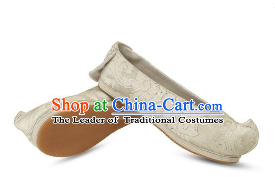 Chinese Ancient Peking Opera Young Lady Shoes, Traditional Chinese Beijing Opera Ancient Princess Hanfu Cloth Shoes Bow Shoes for Women