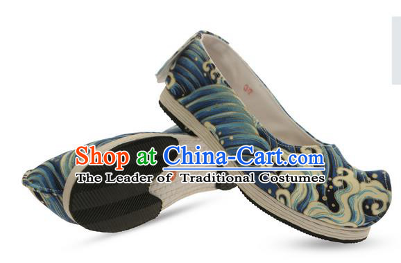 Chinese Ancient Peking Opera Young Lady Shoes, Traditional Chinese Beijing Opera Ancient Princess Hanfu Cloth Shoes Blue Bow Shoes for Women
