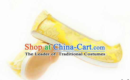Chinese Ancient Peking Opera Young Lady Wedding Shoes, Traditional Chinese Ancient Princess Hanfu Cloth Shoes Bride Yellow Bow Shoes for Women