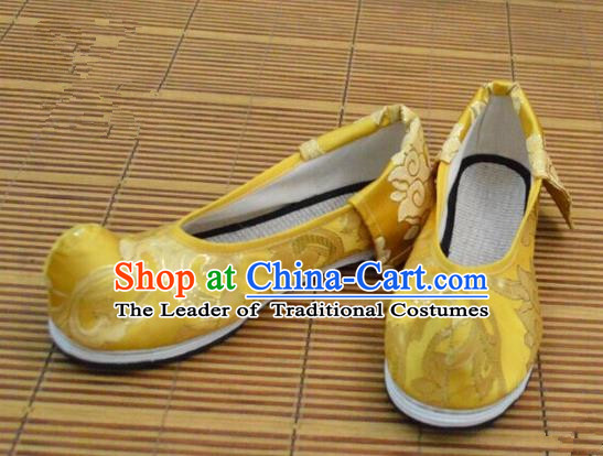 Chinese Ancient Peking Opera Young Lady Crested Shoes, Traditional Chinese Ancient Princess Hanfu Cloth Shoes Yellow Bow Shoes for Women