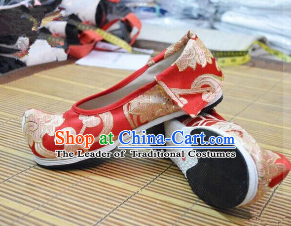 Chinese Ancient Peking Opera Young Lady Crested Shoes, Traditional Chinese Ancient Princess Hanfu Cloth Shoes Red Bow Shoes for Women