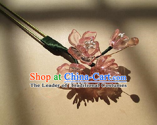Chinese Ancient Handmade Jewelry Accessories Pink Flowers Hairpins, Traditional Chinese Ancient Hanfu Hair Clasp Headwear for Women