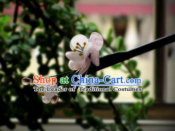 Chinese Ancient Handmade Jewelry Accessories Pink Flowers Hairpins, Traditional Chinese Ancient Hanfu Hair Stick Headwear for Women