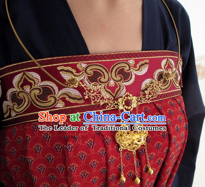 Chinese Ancient Handmade Jewelry Accessories Longevity Lock, Traditional Chinese Ancient Hanfu Wedding Necklace for Women