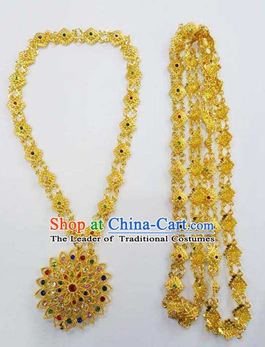 Traditional Thailand Ancient Handmade Jewelry Accessories Necklace, Traditional Thai China Dai Nationality Shoulder Chain for Women