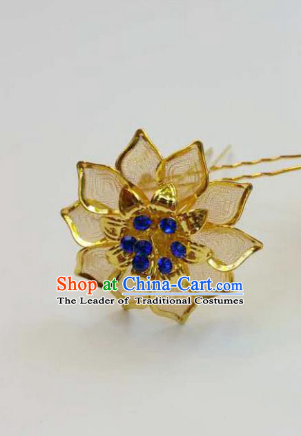 Traditional Thailand Ancient Handmade Hair Accessories Headpiece, Traditional Thai China Dai Nationality Blue Crystal Hairpins for Women