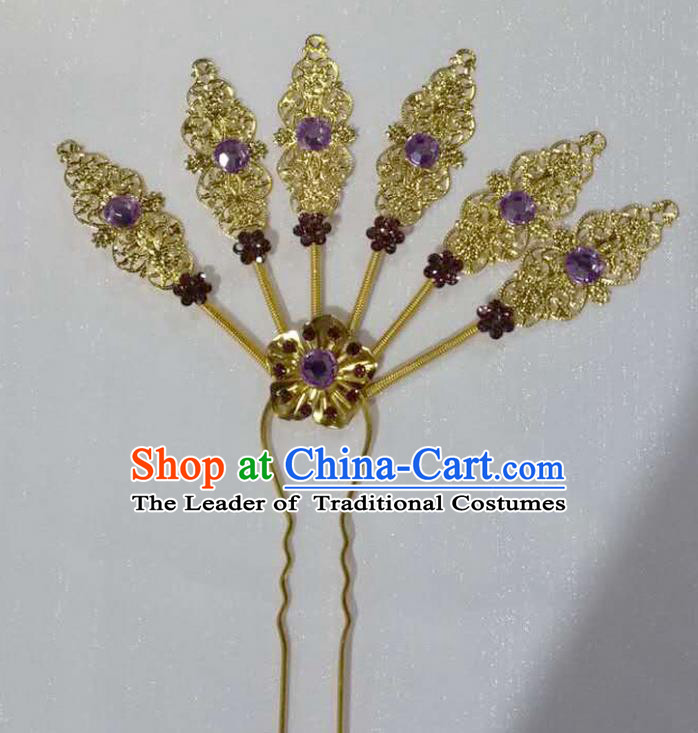 Traditional Thailand Ancient Handmade Hair Accessories Headpiece, Traditional Thai China Dai Nationality Purple Crystal Hairpins Headwear for Women