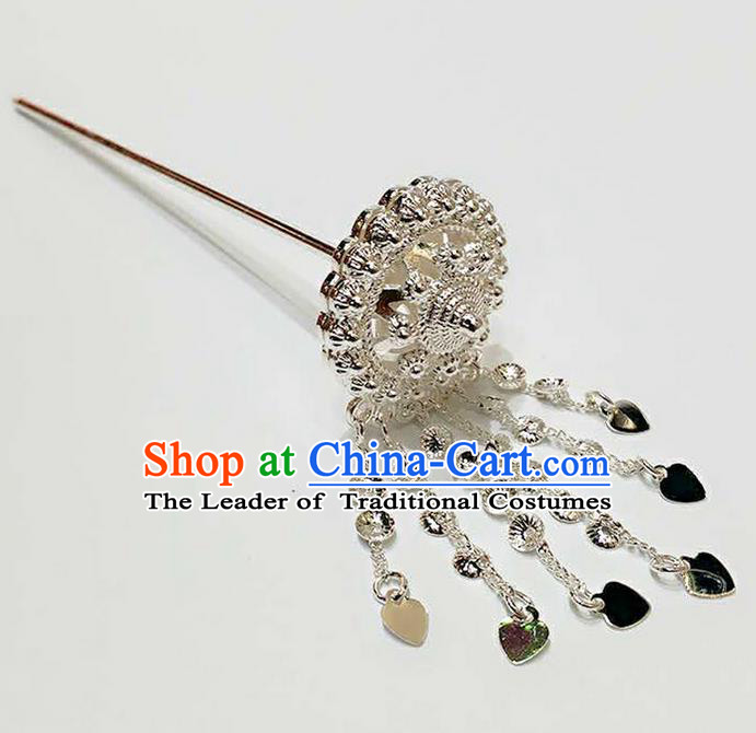 Traditional Thailand Ancient Handmade Hair Accessories Headpiece, Traditional Thai China Dai Nationality Tassel Hairpins Hair Sticks for Women