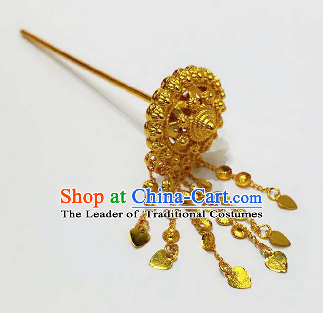 Traditional Thailand Ancient Handmade Hair Accessories Headpiece, Traditional Thai China Dai Nationality Tassel Hairpins Golden Hair Sticks for Women