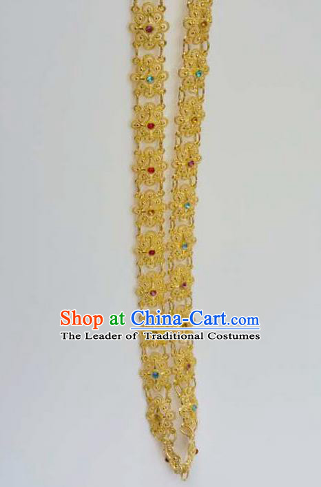 Traditional Thailand Ancient Handmade Jewelry Accessories Necklace, Traditional Thai China Dai Nationality Colorful Crystal Shoulder Chain for Women