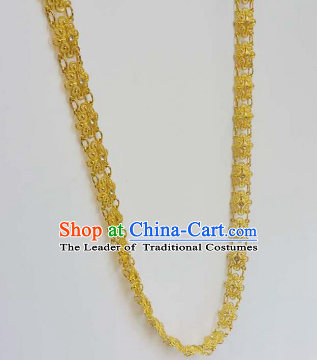 Traditional Thailand Ancient Handmade Jewelry Accessories Necklace, Traditional Thai China Dai Nationality Crystal Shoulder Chain for Women