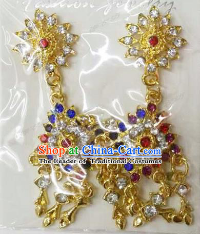 Traditional Thailand Ancient Handmade Accessories Earrings, Traditional Thai China Dai Nationality Colorful Crystal Royal Eardrop for Women